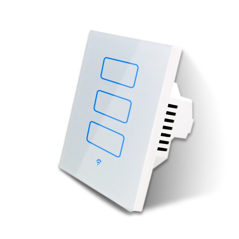 Smart Standalone 3 Zone Touch operated wifi Switch. White